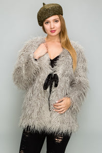 Super Shaggy Faux Fur Coat - Olive Vines Boutique