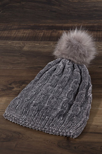 Chenille Cable Knit Beanie - Olive Vines Boutique