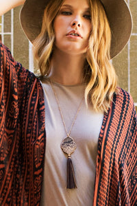 Moroccan Flower and Tassel Necklace - Olive Vines Boutique