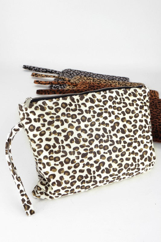 Leopard Faux Fur Clutch - Olive Vines Boutique