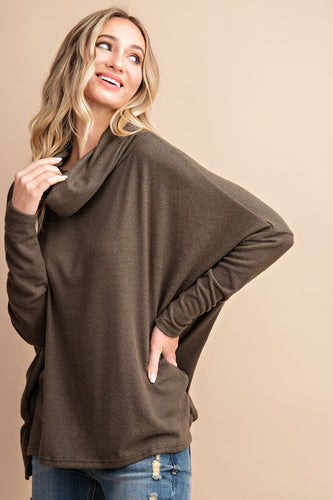 Spin Me Around Cowl Neck Top - Olive Vines Boutique
