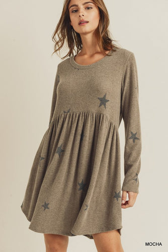 Star Print Baby Doll Dress - Olive Vines Boutique