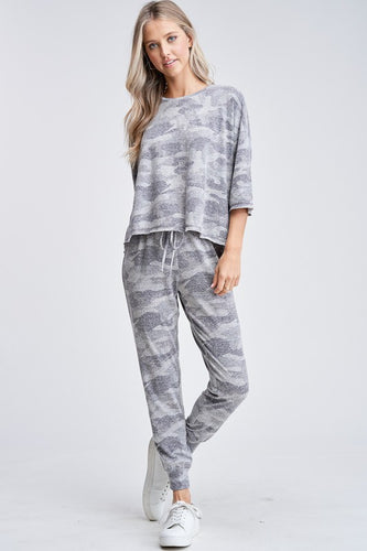 All Day Camo Lounge Wear - Olive Vines Boutique
