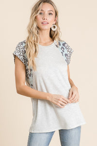 Mixed Print French Terry Top - Olive Vines Boutique