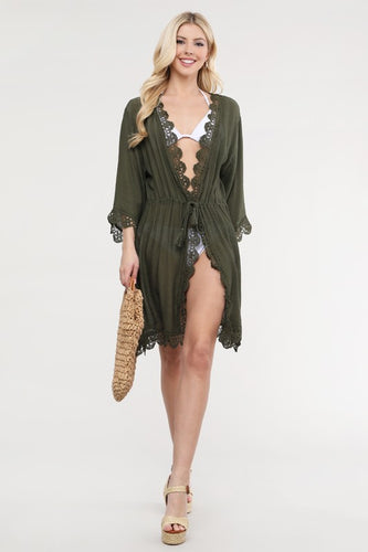 Lace Edge Cover Up Beach Cardigan - Olive Vines Boutique
