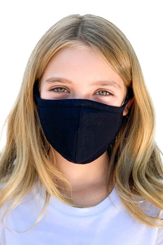 KIDS Black Unisex Fabric reusable mask WITH FILTER POCKET - Olive Vines Boutique