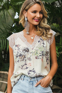 Walk In Garden Lace Splicing Blouse - Olive Vines Boutique