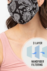 Paisley Washable Mask with Nose Wire & Filter - Olive Vines Boutique