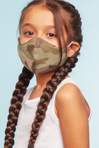 Kid's Camo Jersey Reusable Mask with Filter - Olive Vines Boutique