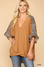 Load image into Gallery viewer, Lillian Leopard Front Twist Top - Olive Vines Boutique