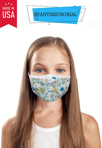 Antimicrobial Fall Flowers Kid's Mask - Olive Vines Boutique