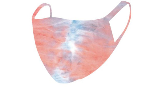 Peach Blue Summer Tie Dye Mask - Olive Vines Boutique
