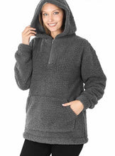 Load image into Gallery viewer, Winter Bliss Sherpa Hoodie - Olive Vines Boutique