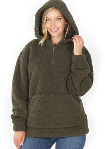 Winter Bliss Sherpa Hoodie - Olive Vines Boutique