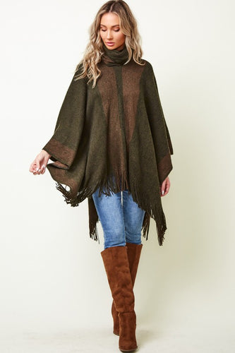 Unwind Sweater Poncho Top - Olive Vines Boutique