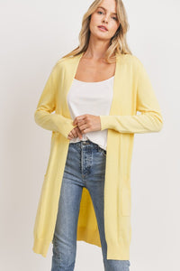 Simple Days Solid Sweater Cardigan ~ Ivory, Mauve, & Yellow - Olive Vines Boutique