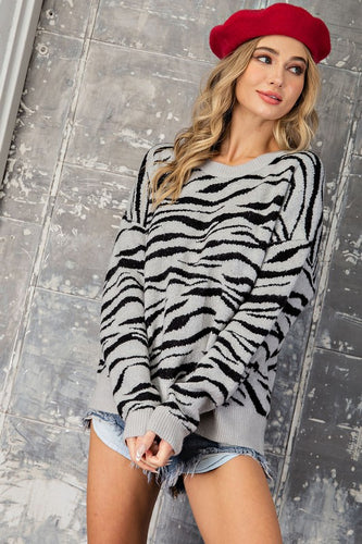Edgy Zebra Sweater - Olive Vines Boutique