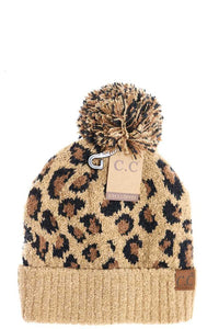 CC LEOPARD KNIT BEANIE - Olive Vines Boutique
