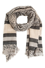 Load image into Gallery viewer, Striped Leopard Pattern Oblong Scarf - Olive Vines Boutique