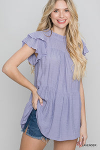 Spring Sentiments Ruffle Top - Olive Vines Boutique