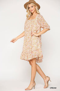 Time to Shine Floral Knee Length Dress - Olive Vines Boutique