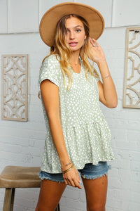 You've Been Spotted Babydoll Top - Olive Vines Boutique