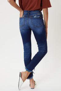 High Rise Hem Detail Ankle Skinny Jeans - Olive Vines Boutique