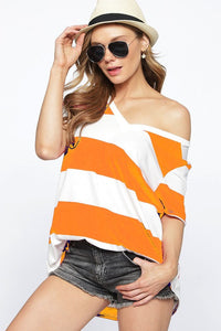 Orange & White Stripe Top - Olive Vines Boutique