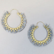 Load image into Gallery viewer, Oversized Boho Fringe Hoop Earrings - Olive Vines Boutique