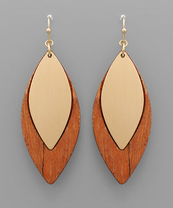 Wood Marquise Earrings - Olive Vines Boutique