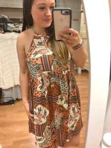 boho print sleeveless babydoll halter dress