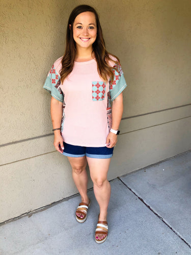 Lady Like Waffle Top - Olive Vines Boutique
