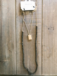 Two Layer Crystal and Gold Necklace - Olive Vines Boutique
