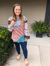 Load image into Gallery viewer, Boho Vibes Floral Patchwork Top - Olive Vines Boutique
