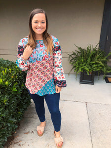 Boho Vibes Floral Patchwork Top - Olive Vines Boutique