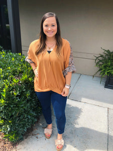 Lillian Leopard Front Twist Top - Olive Vines Boutique