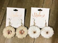 Load image into Gallery viewer, Raffia Flower Earrings - Olive Vines Boutique