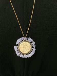 Round Raffia Fan Tassel Necklace - Olive Vines Boutique