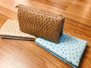 Ostrich Skin 3 Compartment Crossbody Clutch Purse - Olive Vines Boutique