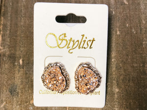 Uneven Druzy Studs - Olive Vines Boutique