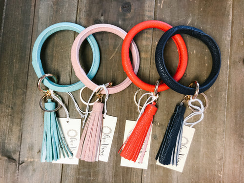 Leather Key Ring Bracelet with Tassel - Olive Vines Boutique