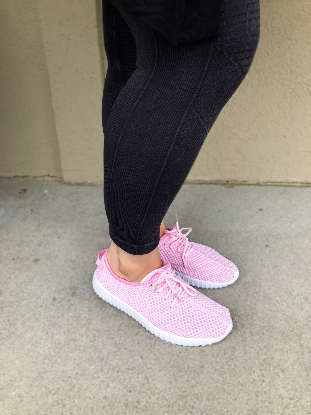 Pretty in Pink Lace Up Sneakers - Olive Vines Boutique