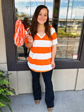 Load image into Gallery viewer, Orange & White Stripe Top - Olive Vines Boutique
