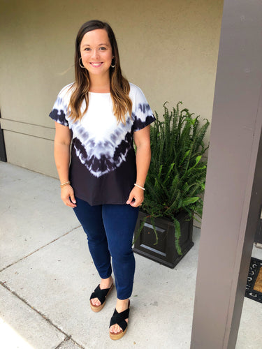 Black & White Tie Dye Dreams Top - Olive Vines Boutique