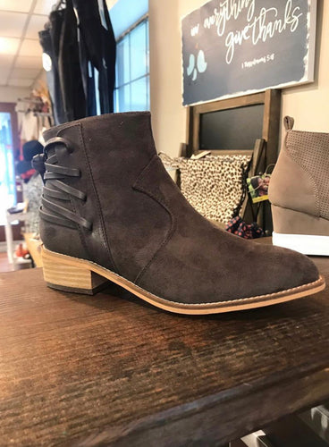 Ankle Booties with Back Lace Up - Olive Vines Boutique
