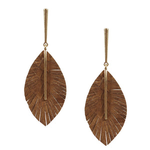 Genuine Leather Feather Earrings - Olive Vines Boutique