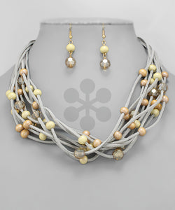 Wood & Crystal Rows Necklace - Olive Vines Boutique