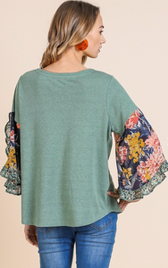 All Seasons Ruffle Sleeved Top - Olive Vines Boutique