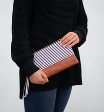 Load image into Gallery viewer, Classic Black & White Stripe Wristlet - Olive Vines Boutique