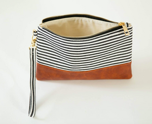 Classic Black & White Stripe Wristlet - Olive Vines Boutique